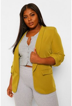 Chartreuse yellow Plus Ruched Sleeve Skinny Lapel Blazer