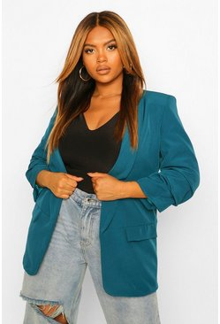 Teal green Plus Ruched Sleeve Skinny Lapel Blazer