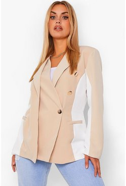 Stone beige Plus Contour Side Panels Button Blazer