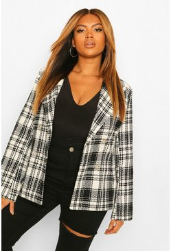 Black Plus Military Button Check Fitted Blazer