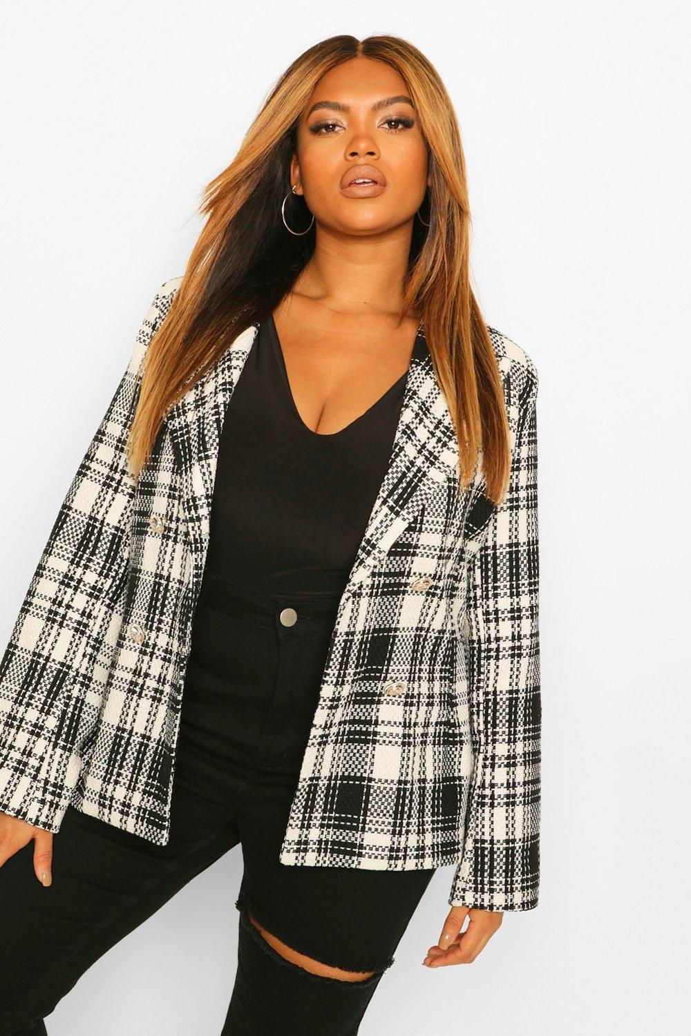 Plus Size Coats & Jackets Plus Military Button Check Fitted Blazer