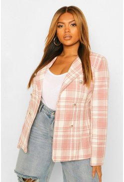 Blush pink Plus Military Button Check Fitted Blazer