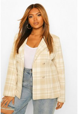 Stone beige Plus Military Button Check Fitted Blazer