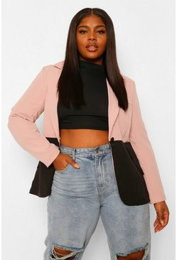 Blush pink Plus Contrast Colour Block Blazer