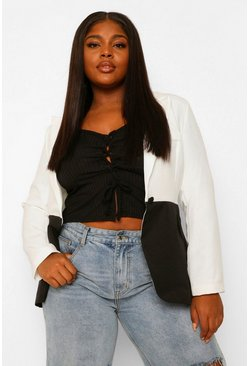 Ivory white Plus Contrast Colour Block Blazer