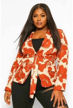 Rust orange Plus Smudge Brush Print Belted Blazer