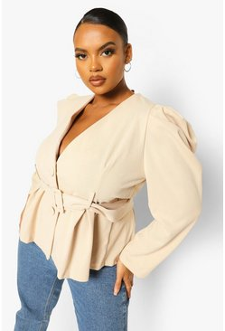 Stone beige Plus Self Fabric Belted Plunge Blazer