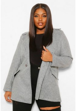 Plus Wool Look Button Up Coat, Grey gris