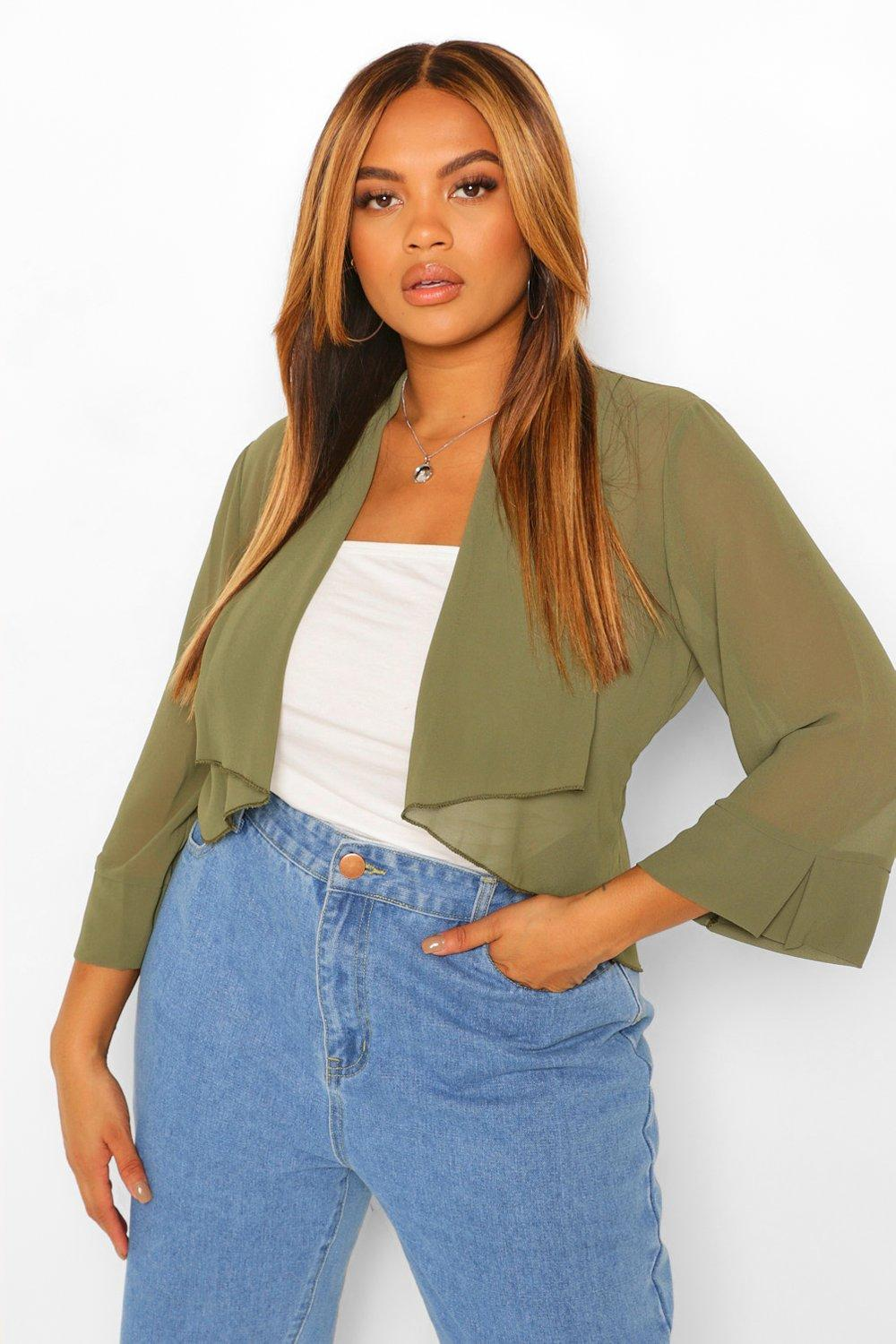 COATS & JACKETS Plus Waterfall Collar Cropped Duster