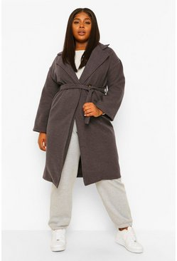 Charcoal grey Plus Wool Look Pocket Front Coat