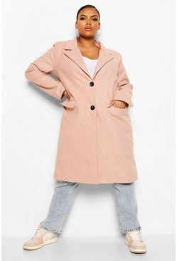 Blush pink Plus Brushed Herringbone Wool Look Coat