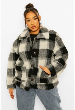 Black Plus Check Teddy Faux Fur Button Up Coat
