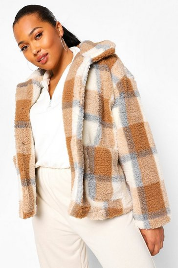 Caramel beige Plus Check Teddy Faux Fur Button Up Coat