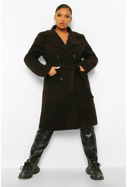 Black Plus Belted Double Breasted Wrap Look Coat