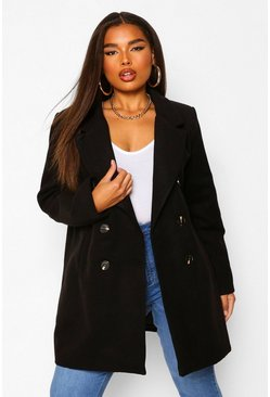 Black Plus Double Breasted Wool Look Coat