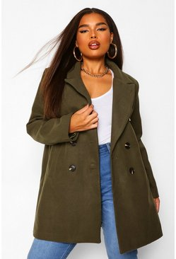 Khaki Plus Double Breasted Wool Look Coat