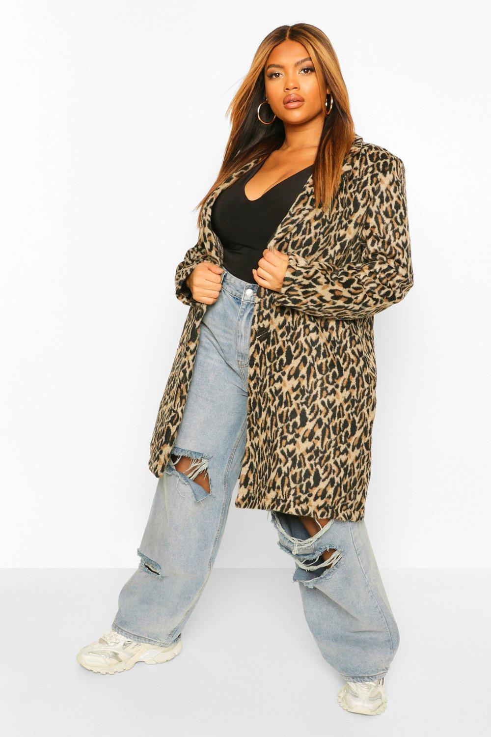 Plus Leopard Print Wool Look Coat 15