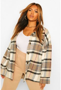 Beige Plus Supersoft Check Wool Look Boyfriend Shacket