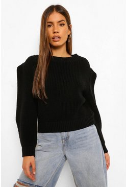 Black Petite Shoulder Pad Detail Knitted Jumper