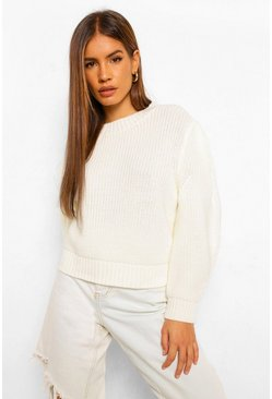 Ivory white Petite Shoulder Pad Detail Knitted Jumper