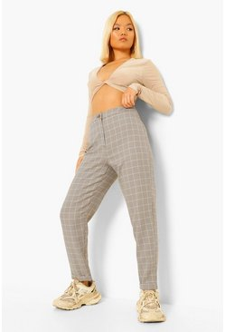 Black Petite Check Tapered Trousers
