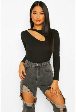 Black Petite Cut Out Detail Rib Bodysuit
