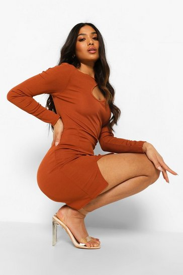 Rust orange Petite Cut Out Detail Split Hem Mini Dress