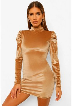 Camel beige Petite Velvet High Neck Mini Dress