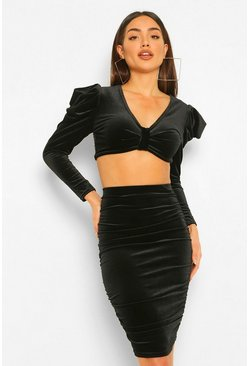 Black Petite Velvet Knot Front Top And Skirt Two-Piece