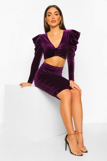 Purple Petite Velvet Knot Front Top and Skirt Co-Ord