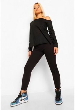 Black Petite Soft Rib Slash Neck and Legging Co-Ord