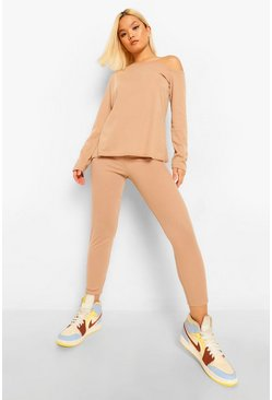 Petite Soft Rib Slash Neck and Legging Co-Ord, Stone beige