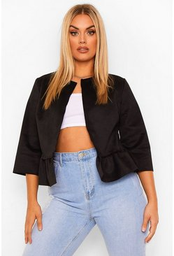 Plus Suedette Collarless Cropped Ruffle Jacket, Black noir