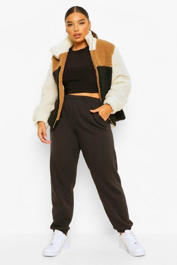 Beige Plus Colour Block Teddy Faux Fur Bomber Jacket