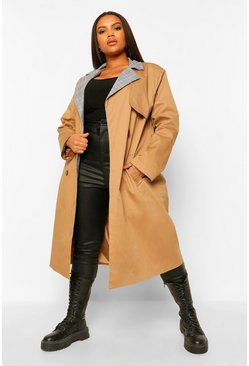 Camel beige Plus Contrast Check Trench Coat