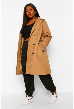 Camel beige Plus O Ring Belted Trench Coat
