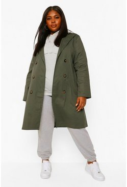 Khaki Plus O Ring Belted Trench Coat