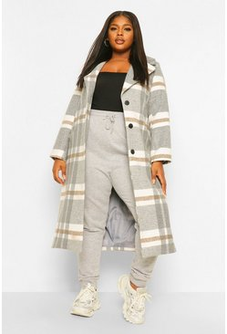 Grey Plus Check Wool Look Boyfriend Coat
