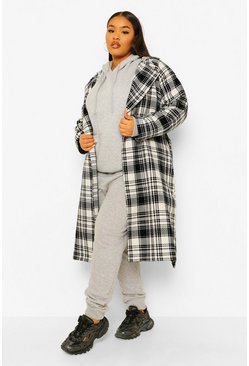 Black Plus Military Button Check Trench Coat