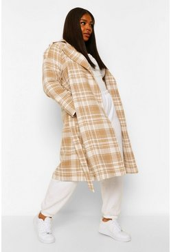 Stone beige Plus Military Button Check Trench Coat