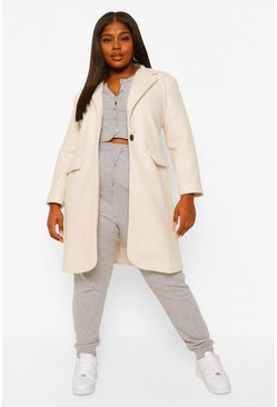 Ivory white Plus Belted Button Up Wool Look Coat