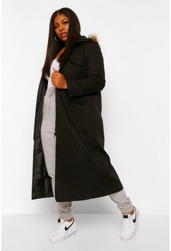 Plus Maxi Length Faux Fur Trim Hooded Parka, Black negro