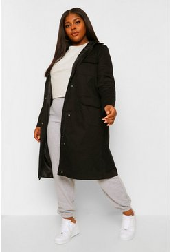 Plus Midi Length Faux Fur Trim Hooded Parka, Black negro