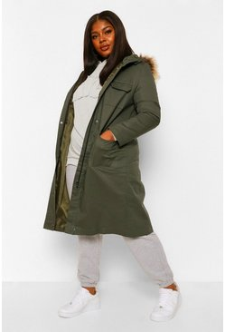Khaki Plus Midi Length Faux Fur Trim Hooded Parka