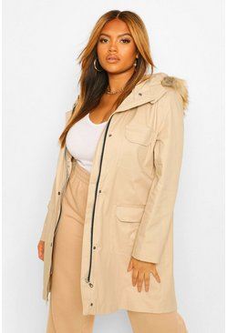 Stone beige Plus Pocket Detail Faux Fur Trim Hooded Parka