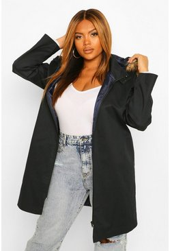 Navy Plus Zip Up Faux Fur Trim Parka