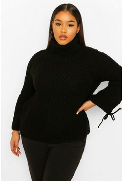 Black Plus Lace Up Sleeve Roll Neck Knitted Jumper