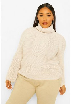 Ivory white Plus Lace Up Sleeve Roll Neck Knitted Jumper