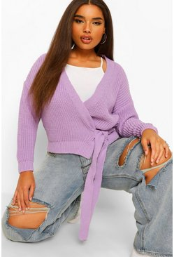 Plus Wrap Tie Detail Cardigan , Lilac morado