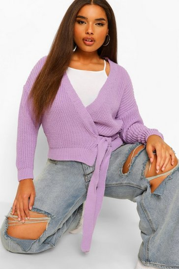 Lilac purple Plus Wrap Tie Detail Cardigan